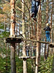 Team-Klettern im Klettergarten - Hochseilgarten, Mut, Angst, Wagnis, Seil, überqueren, Abgrund, Sport, Abenteuer, turnen, Freizeit, klettern, schwindelfrei, Höhe, Freizeitsport, frei, leer, schwingen, Plattform, mutig, helfen, vertrauen, sichern, Sicherheit, Team, Teamsport, überwinden, über sich hinauswachsen, Ethik, climp up