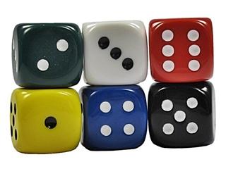 sechs Spielwürfel gestapelt - Spielwürfel, Würfel, Kubus, regelmäßiges Hexaeder, zählen, würfeln, werfen, Spiele, spielen, Augenzahl, Zahl, Zahlen, zwei, drei, vier, fünf, sechs, Wahrscheinlichkeit, Punkt, Punkte, Kubus, Hexaeder, Körper, geometrisch, Seiten, Kanten, Ecken, Quadrate, Zufall, Illustration, rechnen, Glück