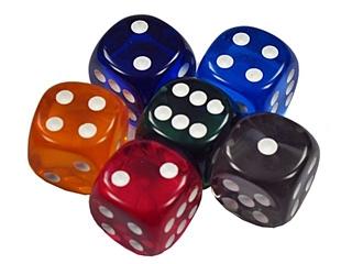 sechs Spielwürfel - Spielwürfel, Würfel, Kubus, regelmäßiges Hexaeder, zählen, würfeln, werfen, Spiele, spielen, Augenzahl, Zahl, Zahlen, zwei, drei, vier, fünf, sechs, Wahrscheinlichkeit, Punkt, Punkte, Kubus, Hexaeder, Körper, geometrisch, Seiten, Kanten, Ecken, Quadrate, Zufall, Illustration, rechnen, Glück, farbig