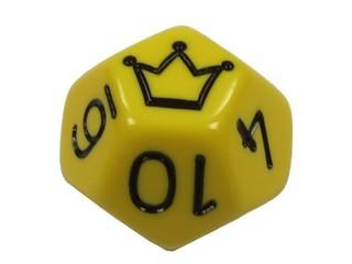 gelber zwölfseitiger Jokerwürfel - Spielwürfel, Würfel, zählen, würfeln, werfen, Spiele, spielen, Augenzahl, Zahl, Zahlen, Wahrscheinlichkeit, Körper, geometrisch, Seiten, Kanten, Ecken, Zufall, Illustration, rechnen, Glück, Dodekaeder, Fünfeck, Geometrie