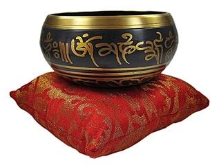 Nepal Klangschale - Nepal, Klangschale, Ton, Vibration, Musik, Klang, klingen, Schale, Metall, Instrument, Bronze, Halbkugel, Klöppel, Kissen