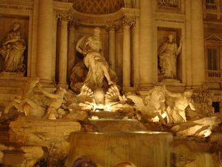 Trevi-Brunnen bei Nacht - Italien, Rom, Sehenswürdigkeit, Brunnen, Trevibrunnen, Fontani di Trevi, Nacht, Beleuchtung, Fontana, Trevi, Wasser, Skulptur, Marmor, Plastik, Spätbarock