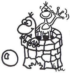 Frösche - Comic, Cartoon, Märchen, Ausmalbild, Illustration, Arbeitsbogen, Geschichte, lustig, witzig, kreatives Schreiben, illustrieren, Frosch, Frösche, Kugel, Brunnen, Goldkugel, Froschkönig, Gebrüder Grimm, Ball