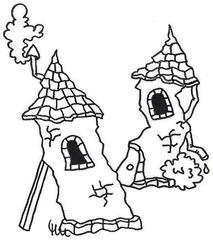 schiefe Türme - Turm, Türme, schief, windschief, klapprig, klapperig, Zauber, Zauberer, Magier, Magie, Märchen, Mittelalter, Burg, Comic, Cartoon, Schreibanlass, Grimm, Gebrüder, Brüder, mystisch, geheim, gruselig, lustig, witzig, Ausmalbild, anmalen, ausmalen, Illustration, illstrieren, kreativ, kreatives Schreiben