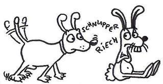 Hund und Hase - Hund, Hase, Tier, Tiere, Comic, Cartoon, Ausmalbild, Geschichte, kreatives Schreiben, Schreibanlass, Freundschaft, Freunde, schmollend, schmollen, angefressen, schlechte, gute, Laune, schlechtgelaunt, schüchtern, Beziehung, schnüffeln, schnuppern, riechen, beriechen, anfreunden, versöhnen, Versöhnung, Entschuldigung, entschuldigen, illustrieren, Illustration, anmalen, ausmalen, Arbeitsbogen, Arbeitsblatt, miteinander, Ostern, Tierwelt