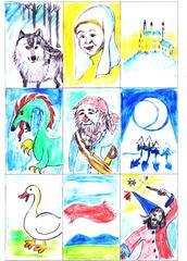Wortkarten zum Thema Märchen.  - Wolf, Fee, Räuber, Mondlicht, fliegender Teppich, Zauberer, Drache, Gans