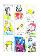 Märchenkarten für den DaZ-Unterricht - Zwerg, Riese, goldene Kugel, Prinz, Prinzessin, Tischlein, goldener Schlüssel,