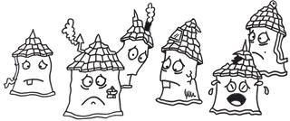 Singlehaushalt - Schreibanlass, Märchen, Ausmalbild, anmalen, ausmalen, Comic, Cartoon, kreatives Schreiben, Aufsatz, Haus, Häuser, Single, Singles, allein, Gruppe, traurig, Trauer