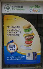 Werbeplakat  Apotheke in Lissabon - leveza, refecao, receita, digestao, sensacao, enfartamento, flatulencia, alívia, dupla acao
