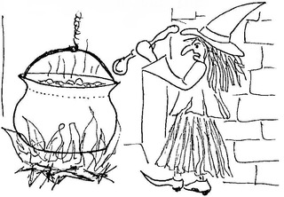Hexe am Kessel - Hexe, Kessel, Hexenkessel, Feuer, Feuerstelle, Löffel, Anlaut H, Wörter mit x, Magie, zaubern, kochen, Märchen