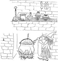 Hexe in der Küche - Hexe, Kessel, Löffel, Hexenkessel, Märchen, Feuer, Sims, Glas, Phiole, Karaffe, Fledermäuse, blubbern, Dampf, brauen, kochen, Magie, zaubern, Wörter mit x