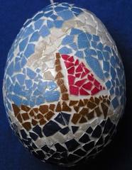 Osterei mit Mosaik, Schiff - Osterei, Ostern, Ei, Dekoration, Frühling, bemalt, Brauchtum