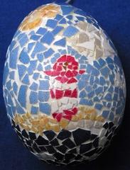 Osterei mit Mosaik, Leuchtturm - Osterei, Ostern, Ei, Dekoration, Frühling, bemalt, Brauchtum