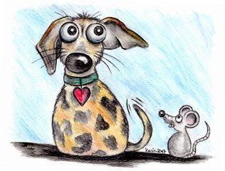 Wo ist die Maus? - Hund, Maus, aufmerksam, lauschen, Comic, Schreibanlass