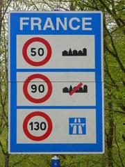 la France - Frankreich, France, panneau, Grenze, vitesse, Geschwindigkeit, Schild