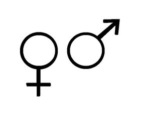 Gender-Symbol Mann/Frau - Gender, Mann, Frau, Sexualerziehung, Liebe, Partnerschaft, Symbol, genetisches Geschlecht