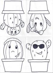 Comic-Kakteen für die Klassenzimmertür 1 - Klassenzimmergestaltung, Namensschilder, Kaktus, Türgestaltung