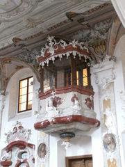 Schlosskirche in Meersburg#3 - Schlosskirche, Meersburg, Kanzel, Predigt, Kirche, Verkündigung, Botschaft, Pfarrer, Pastor, Dach, Akustik, Schmuck, Rokoko, Schall, Schalldeckel