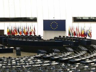 Europäisches Parlament Straßburg#1 - Europäisches Parlament, Straßburg, Plenarsaal, Volksvertretung, Sitzung, Sitzplätze, Fraktion, Regierung, Legislative, Exekutive, Europaabgeordnete, Rednerbühne