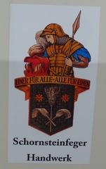 Altes Wappen Schornsteinfeger - Schornsteinfeger, Kaminfeger, Rauchfangkehrer, Kaminkehrer, Schlotfeger, Wappen, Heiliger Florian, Schutzpatron