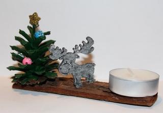 Tannenbäumchen - Weihnachten, Basteln, Teelicht, Kerze, Elch, Tannenzapfen