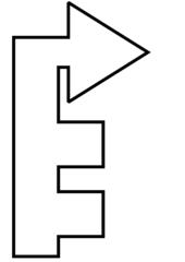 dritte rechts - Wegbeschreibung, Bild, Piktogramm, Pfeil