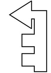 dritte links - Wegbeschreibung, Bild, Piktogramm, Pfeil, Symbol, grafische Darstellung, Information