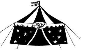 Zirkus sw-Zeichnung - Zirkus, Zirkuszelt, Anlaut Z, Wörter mit z, Vorführung, Spielstätte, Zeltdach, Abspannung