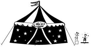 Zirkus mit Kindern - sw-Zeichnung - Zirkus, Zelt, Kinder, Artisten, Anlaut Z, Wörter mit z, Vorführung, Spielstätte, Zeltdach, Abspannung