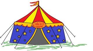 Zirkus ohne Kinder - Zeichnung farb - Zirkus, Zelt, Zirkuszelt, Anlaut Z, Wörter mit z, Vorführung, Spielstätte, Zeltdach, Abspannung