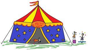 Zirkus mit Kindern - Zeichnung farb - Zirkus, Anlaut Z, Zirkuszelt, Zelt, Kinder, Artisten, Wörter mit z, Vorführung, Spielstätte, Zeltdach, Abspannung