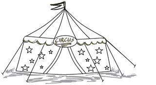Zirkus ohne Kinder - Zeichnung - Zirkus, Zelt, Anlaut Z, Wörter mit z, Vorführung, Spielstätte, Zeltdach, Abspannung