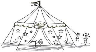 Zirkus mit Kindern - Zeichnung - Zirkus, Anlaut Z, Circus, Wörter mit z, Zirkuszelt, Vorführung, Spielstätte, Zeltdach, Abspannung