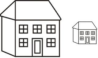 groß - klein - Haus, Häuser, groß, klein Gegensatz, Gegenteil, Wörter mit ß