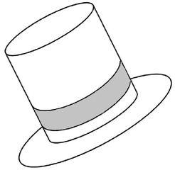 Zylinder weiß - Zylinder, Hut, Kopfbedeckung, Krempe, Band, Wörter mit y, Anlaut Z, weiß
