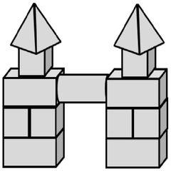 Geo-Burg 1 - Quader, Würfel, Rechteck, Fläche, Zylinder, Pyramide, Burg, Körper, Dreieck, Kegel, Kugel, Prisma, Ansicht, Draufsicht, von vorne, von hinten, von links, von rechts, von oben, von unten, Geometrie, Zeichnung, Illustration, Kreis, Kante, Winkel, rechter Winkel, Form, Formen