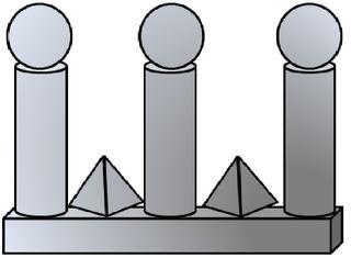 Geo-Burg 2 - Quader, Würfel, Rechteck, Fläche, Zylinder, Pyramide, Burg, Körper, Dreieck, Kegel, Kugel, Prisma, Ansicht, Draufsicht, von vorne, von hinten, von links, von rechts, von oben, von unten, Geometrie, Zeichnung, Illustration, Kreis, Kante, Winkel, rechter Winkel, Form, Formen