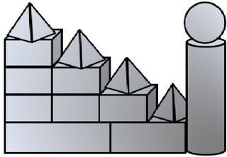 Geo-Burg 3 - Quader, Würfel, Rechteck, Fläche, Zylinder, Pyramide, Burg, Körper, Dreieck, Kegel, Kugel, Prisma, Ansicht, Draufsicht, von vorne, von hinten, von links, von rechts, von oben, von unten, Geometrie, Zeichnung, Illustration, Kreis, Kante, Winkel, rechter Winkel, Form, Formen