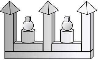 Geo-Burg 4 - Quader, Würfel, Rechteck, Fläche, Zylinder, Pyramide, Burg, Körper, Dreieck, Kegel, Kugel, Prisma, Ansicht, Draufsicht, von vorne, von hinten, von links, von rechts, von oben, von unten, Geometrie, Zeichnung, Illustration, Kreis, Kante, Winkel, rechter Winkel, Form, Formen