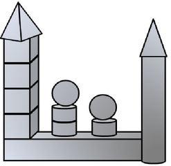 Geo-Burg 5 - Quader, Würfel, Rechteck, Fläche, Zylinder, Pyramide, Burg, Körper, Dreieck, Kegel, Kugel, Prisma, Ansicht, Draufsicht, von vorne, von hinten, von links, von rechts, von oben, von unten, Geometrie, Zeichnung, Illustration, Kreis, Kante, Winkel, rechter Winkel, Form, Formen