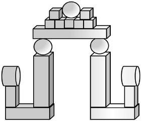 Geo-Burg 6 - Quader, Würfel, Rechteck, Fläche, Zylinder, Pyramide, Burg, Körper, Dreieck, Kegel, Kugel, Prisma, Ansicht, Draufsicht, von vorne, von hinten, von links, von rechts, von oben, von unten, Geometrie, Zeichnung, Illustration, Kreis, Kante, Winkel, rechter Winkel, Form, Formen