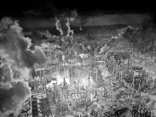 Ausschnitt Asisi Panorama - Dresden 1945  #1 sw - Geschichte, Krieg, Zerstörung, Bombardement, Brand, Schutt, Asche, Kunst, Panorama, Ansicht, Ethik, Weltkrieg, Dresden, Luftangriff, Feuersturm, Ruinen, zerstört