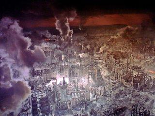 Ausschnitt Asisi Panorama - Dresden 1945  #1 - Geschichte, Krieg, Zerstörung, Bombardement, Brand, Schutt, Asche, Kunst, Panorama, Ansicht, Ethik, Weltkrieg, Dresden, Luftangriff, Feuersturm, Ruinen, zerstört
