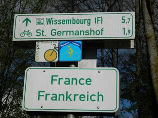 France - Frankreich - Schild, Grenze, Deutschland, Frankreich, Radfahrer, frontière