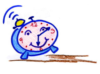 Wecker - Wecker, wecken, Uhr, Zeit, läuten, Anlaut W, fröhlich, Illustration, Wörter mit ck