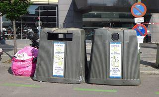 Mülltrennung - papel, vidrio, dentro, fuera, ciudad, limpieza