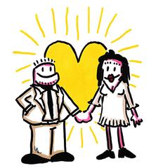 Liebessonne - Liebe, Liebespaar, Sonne, Mann, Frau, Beziehung, Hochzeit, Trauung, verliebt, Comic, Cartoon, Illustration, Hand in Hand, Gefühl, Gefühlsausdruck, Emotion, Empfindung, Stimmung, Gespür, empfinden, Gemütsbewegung, verknallt, vernarrt, Zuneigung, Verliebtheit, Schwärmerei, Schmetterlinge im Bauch, jemanden den Kopf verdrehen, im siebten Himmel schweben