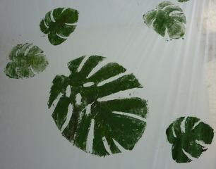 Blätterdruck #1 - Gestaltung, Blattdruck, Blätterdruck, Leinen, Farbe