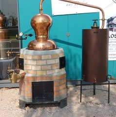 Destillation - Destillieren, Destillationsapparat, Trennverfahren, Trennmethode, Sieden, Verdampfen, Abkühlen, Kondensieren, Schnaps, Schnapsbrennen, Gemenge