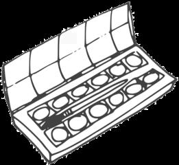 Malkasten - paintbox, Farbkasten, Tuschkasten, Malkasten, Deckfarbkasten, Wasserfarbkasten, malen, tuschen, Kunst, Kunsterziehung, Schule, Unterricht, Farbe, Farben, bunt, Pinsel, Schulsachen, anlaut M, Anlaut F, Anlaut T, Anlaut W